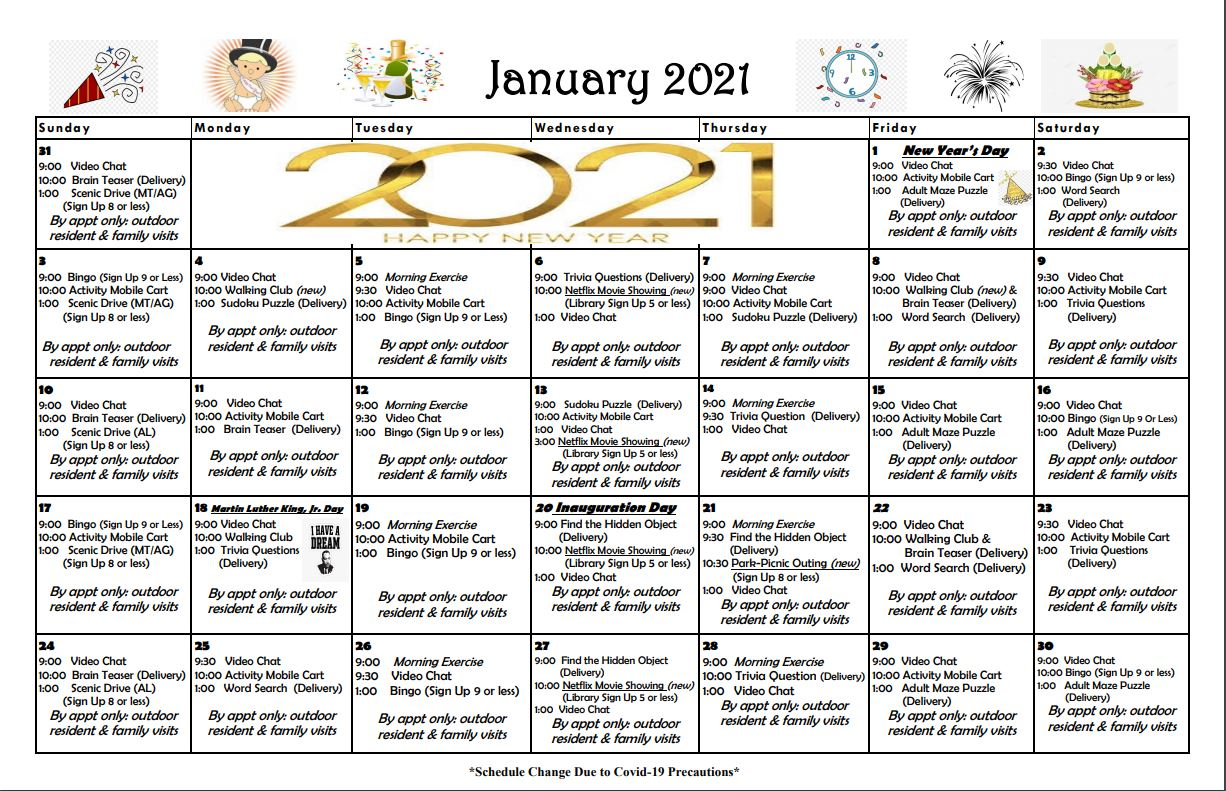 Roselani Place January 2021 Calendar