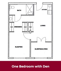 One Bedroom with Den Floor plan at Roselani Place Senior Living Maui