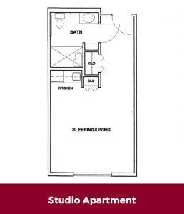Studio Apartment Floor plan at Roselani Place Senior Living Maui