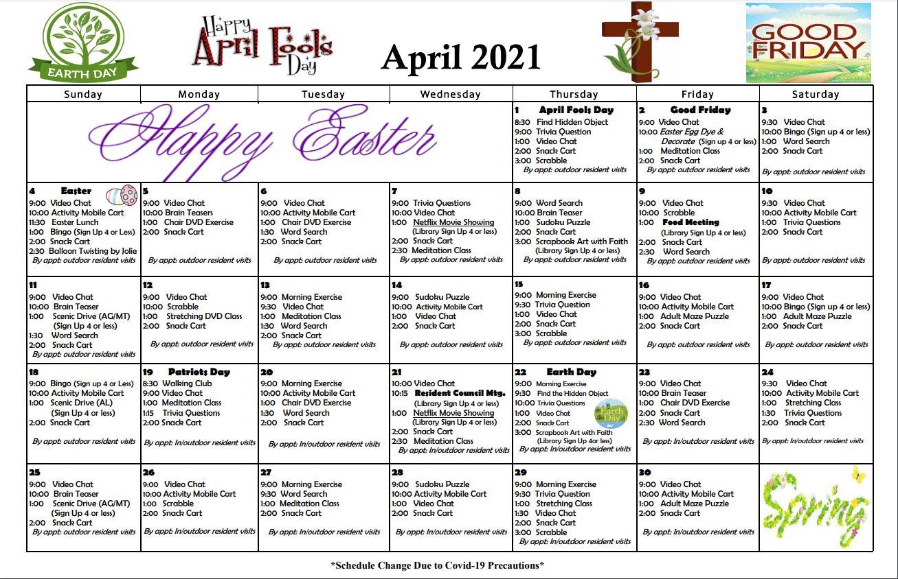 Roselani Place April 2021 Calendar