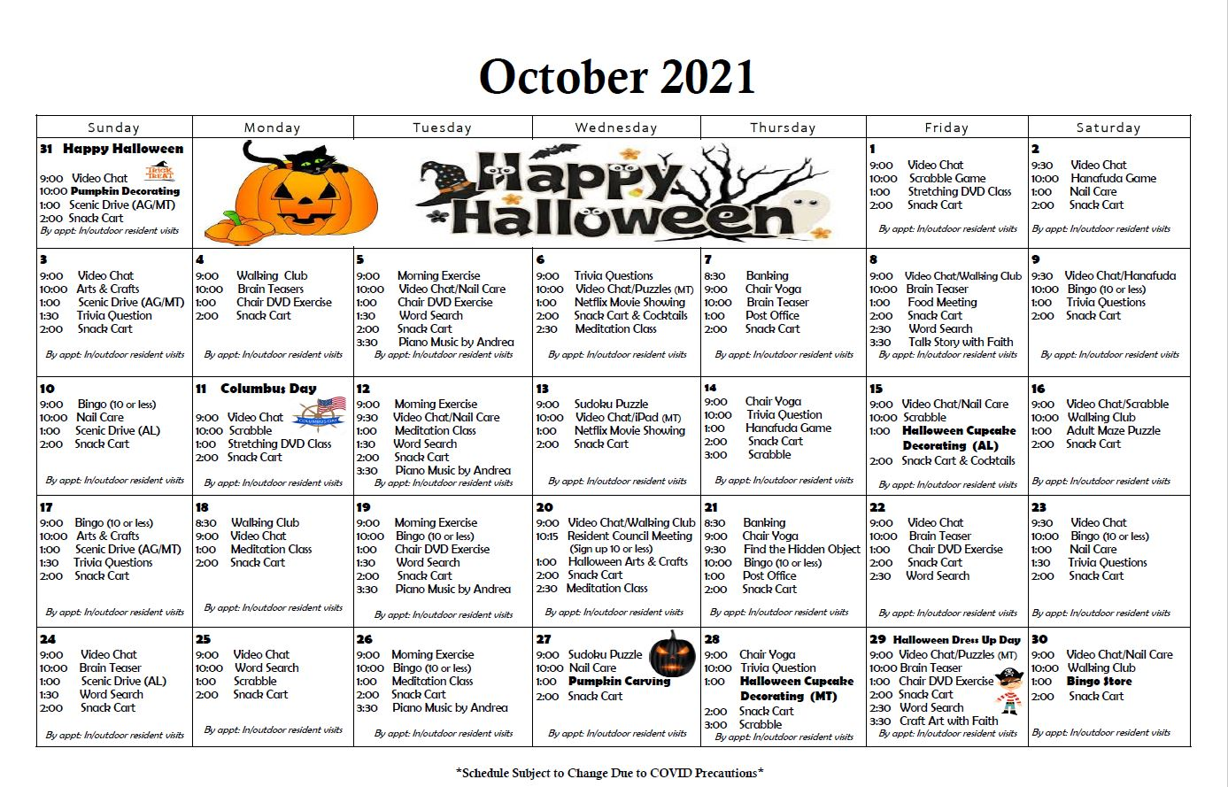 Roselani October 2021 Calendar of Activities